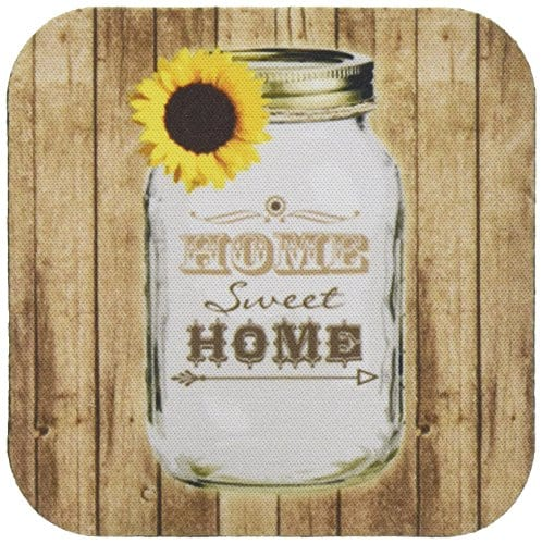 3dRose Cst1285551 Country Rustic Mason Jar With Sunflower Home Sweet Home Soft Coasters Set Of 4 0