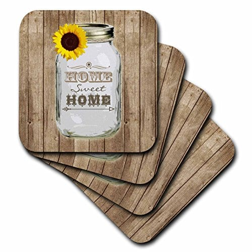 3dRose Cst1285552 Country Rustic Mason Jar With Sunflower Home Sweet Home Soft Coasters Set Of 8 0