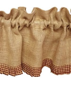 AT Primitive Country Burlap Red Check Ruffle Window Valance 0 300x360