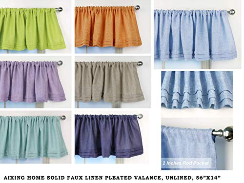 Aiking Home Solid Faux Linen Pleated Valance 56 By 14 Inches 0