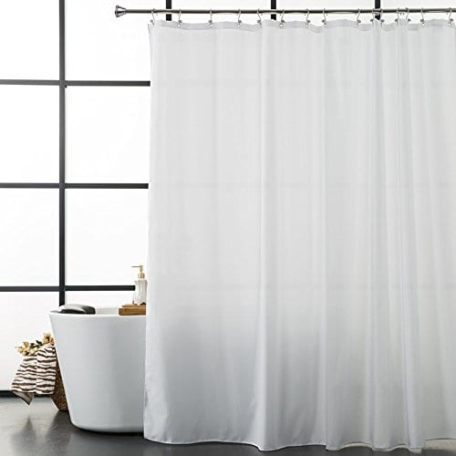 Aimjerry White Fabirc Shower Curtain For Bathroom With 12 Hooks72Hx72L 0