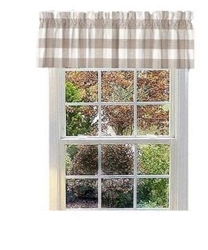 Appleberry Attic Beige Buffalo Plaid Valance Beige Buffalo Check Plaid Curtains Valances Windows Buffalo Check Beige Made In USA 0 300x360