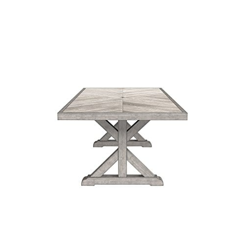 Ashley Furniture Signature Design Beachcroft Outdoor Rectangular Dining Table With Umbrella Option Porcelain Top Beige 0 1