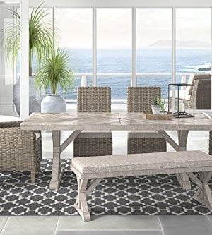 Ashley Furniture Signature Design Beachcroft Outdoor Rectangular Dining Table With Umbrella Option Porcelain Top Beige 0 2 300x333
