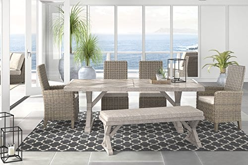 Ashley Furniture Signature Design Beachcroft Outdoor Rectangular Dining Table With Umbrella Option Porcelain Top Beige 0 2