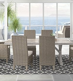 Ashley Furniture Signature Design Beachcroft Outdoor Rectangular Dining Table With Umbrella Option Porcelain Top Beige 0 3 300x333