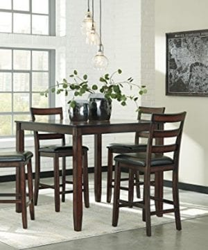 Ashley Furniture Signature Design Coviar Counter Height Dining Room Table And Bar Stools Set Of 5 Brown 0 300x360