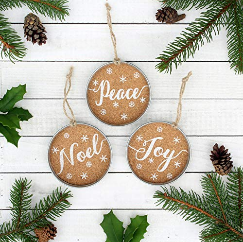 Peace Christmas Ornament.Auldhome Mason Jar Lid Christmas Ornaments Farmhouse Decor Set Of 6 Rustic Galvanized Hanging Decorations With Peace Joy And Noel