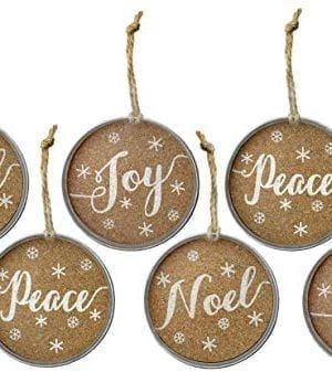 Auldhome Mason Jar Lid Christmas Ornaments Farmhouse Decor Set Of 6 Rustic Galvanized Hanging Decorations With Peace Joy And Noel 0 300x337