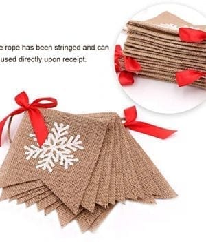 Aytai Merry Christmas Burlap Banner With Snowflake Reindeer Xmas Garlands Banner Sign For Holiday Christmas Decoration Christmas Party Props Favors 0 1 300x360