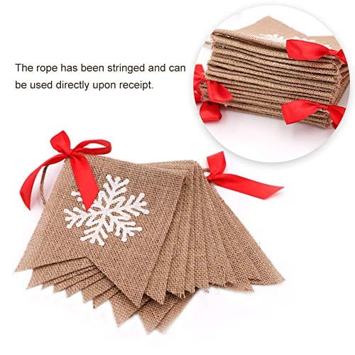 Aytai Merry Christmas Burlap Banner With Snowflake Reindeer Xmas Garlands Banner Sign For Holiday Christmas Decoration Christmas Party Props Favors 0 1