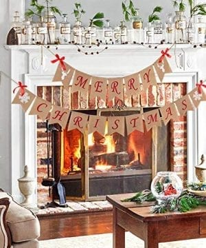 Aytai Merry Christmas Burlap Banner With Snowflake Reindeer Xmas Garlands Banner Sign For Holiday Christmas Decoration Christmas Party Props Favors 0 3 300x360