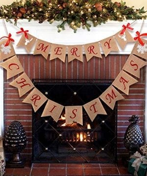 Aytai Merry Christmas Burlap Banner With Snowflake Reindeer Xmas Garlands Banner Sign For Holiday Christmas Decoration Christmas Party Props Favors 0 300x360