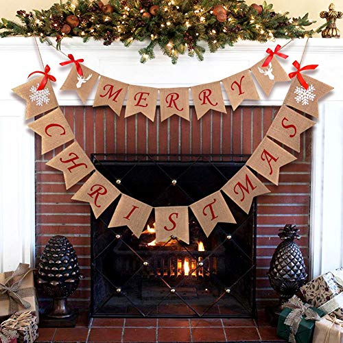 Aytai Merry Christmas Burlap Banner With Snowflake Reindeer Xmas Garlands Banner Sign For Holiday Christmas Decoration Christmas Party Props Favors 0