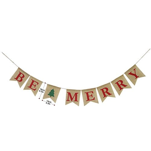 Be Merry Burlap Banner Christmas Burlap Banner Christmas Tree Garland Holiday Bunting Home Garden Indoor Outdoor Banner Natural Burlap Banner Christmas Decor Decorations 0 0
