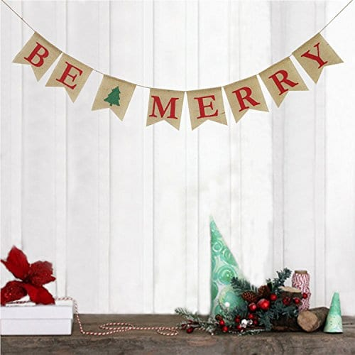 Be Merry Burlap Banner Christmas Burlap Banner Christmas Tree Garland Holiday Bunting Home Garden Indoor Outdoor Banner Natural Burlap Banner Christmas Decor Decorations 0 2