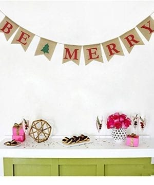 Be Merry Burlap Banner Christmas Burlap Banner Christmas Tree Garland Holiday Bunting Home Garden Indoor Outdoor Banner Natural Burlap Banner Christmas Decor Decorations 0 3 300x360
