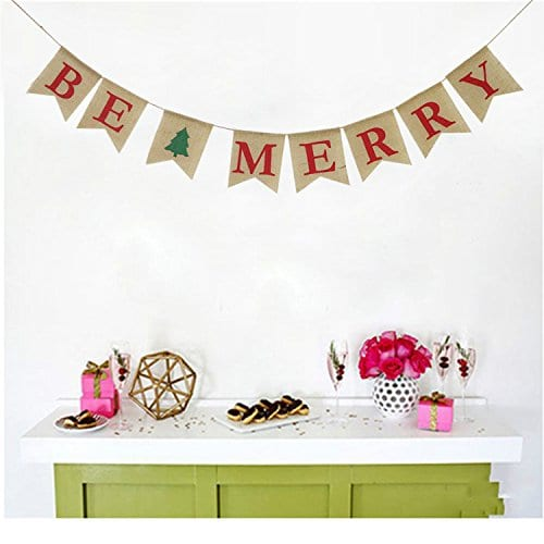 Be Merry Burlap Banner Christmas Burlap Banner Christmas Tree Garland Holiday Bunting Home Garden Indoor Outdoor Banner Natural Burlap Banner Christmas Decor Decorations 0 3