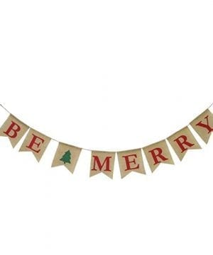 Be Merry Burlap Banner Christmas Burlap Banner Christmas Tree Garland Holiday Bunting Home Garden Indoor Outdoor Banner Natural Burlap Banner Christmas Decor Decorations 0 300x360