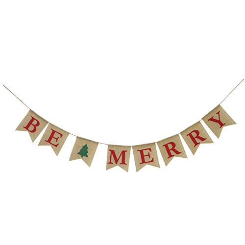 Be Merry Burlap Banner Christmas Burlap Banner Christmas Tree Garland Holiday Bunting Home Garden Indoor Outdoor Banner Natural Burlap Banner Christmas Decor Decorations 0