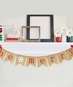Be Merry Burlap Banner With Two Bow Ribbons Rustic Christmas Banner Bunting Holiday Decorations Christmas Party Decorations Perfect For Mantel Fireplace Hanging Decor 0 0 300x360