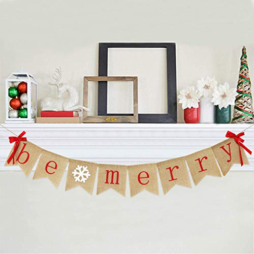 Be Merry Burlap Banner With Two Bow Ribbons Rustic Christmas Banner Bunting Holiday Decorations Christmas Party Decorations Perfect For Mantel Fireplace Hanging Decor 0 0