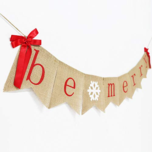 Be Merry Burlap Banner With Two Bow Ribbons Rustic Christmas Banner Bunting Holiday Decorations Christmas Party Decorations Perfect For Mantel Fireplace Hanging Decor 0 1