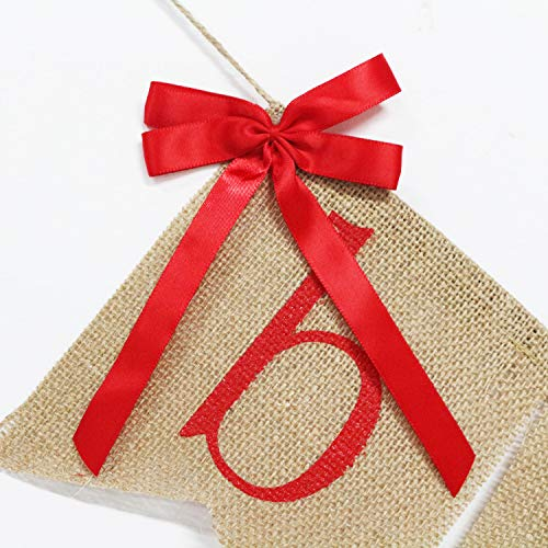 Be Merry Burlap Banner With Two Bow Ribbons Rustic Christmas Banner Bunting Holiday Decorations Christmas Party Decorations Perfect For Mantel Fireplace Hanging Decor 0 2