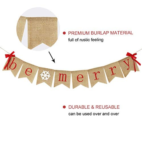 Be Merry Burlap Banner With Two Bow Ribbons Rustic Christmas Banner Bunting Holiday Decorations Christmas Party Decorations Perfect For Mantel Fireplace Hanging Decor 0 3
