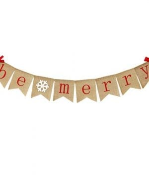 Be Merry Burlap Banner With Two Bow Ribbons Rustic Christmas Banner Bunting Holiday Decorations Christmas Party Decorations Perfect For Mantel Fireplace Hanging Decor 0 300x360
