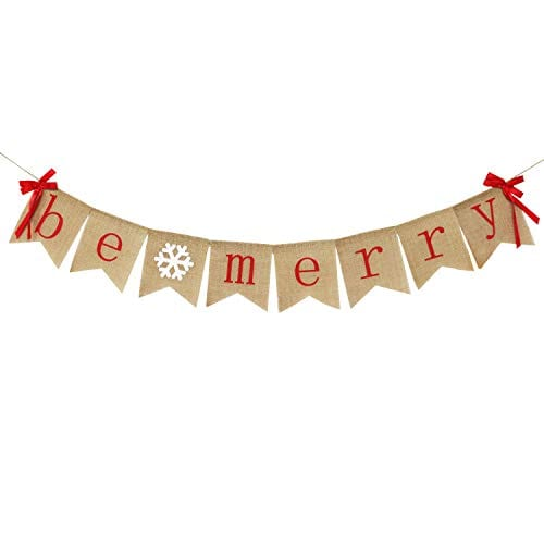Be Merry Burlap Banner With Two Bow Ribbons Rustic Christmas Banner Bunting Holiday Decorations Christmas Party Decorations Perfect For Mantel Fireplace Hanging Decor 0