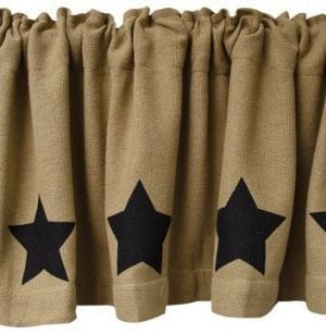 Black Star Burlap Window Curtain Valance Natural Tan Weave Country Primitive Home Dcor 0 300x307