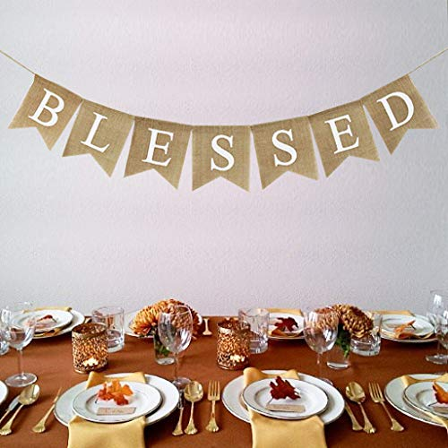 Blessed Banner Burlap Blessed Bunting Rustic Thanksgiving Decor Thanksgiving Banner Family Photo Prop Mantle Fireplace Hanging Decor Holiday Decorations 0 0