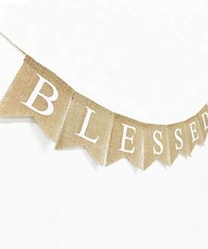 Blessed Banner Burlap Blessed Bunting Rustic Thanksgiving Decor Thanksgiving Banner Family Photo Prop Mantle Fireplace Hanging Decor Holiday Decorations 0 1 300x360