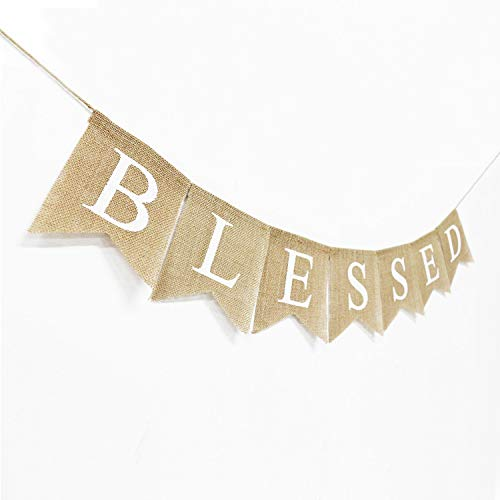 Blessed Banner Burlap Blessed Bunting Rustic Thanksgiving Decor Thanksgiving Banner Family Photo Prop Mantle Fireplace Hanging Decor Holiday Decorations 0 1