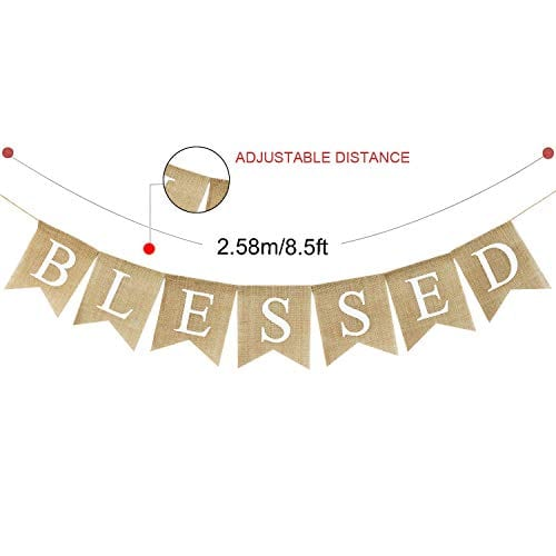 Blessed Banner Burlap Blessed Bunting Rustic Thanksgiving Decor Thanksgiving Banner Family Photo Prop Mantle Fireplace Hanging Decor Holiday Decorations 0 2