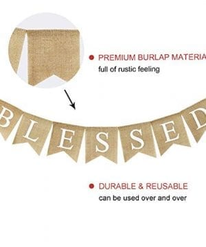Blessed Banner Burlap Blessed Bunting Rustic Thanksgiving Decor Thanksgiving Banner Family Photo Prop Mantle Fireplace Hanging Decor Holiday Decorations 0 3 300x360