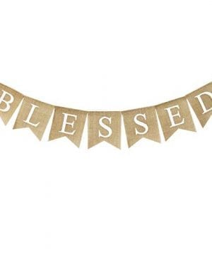 Blessed Banner Burlap Blessed Bunting Rustic Thanksgiving Decor Thanksgiving Banner Family Photo Prop Mantle Fireplace Hanging Decor Holiday Decorations 0 300x360