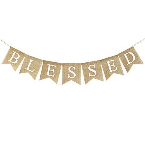 Blessed Banner Burlap Blessed Bunting Rustic Thanksgiving Decor Thanksgiving Banner Family Photo Prop Mantle Fireplace Hanging Decor Holiday Decorations 0