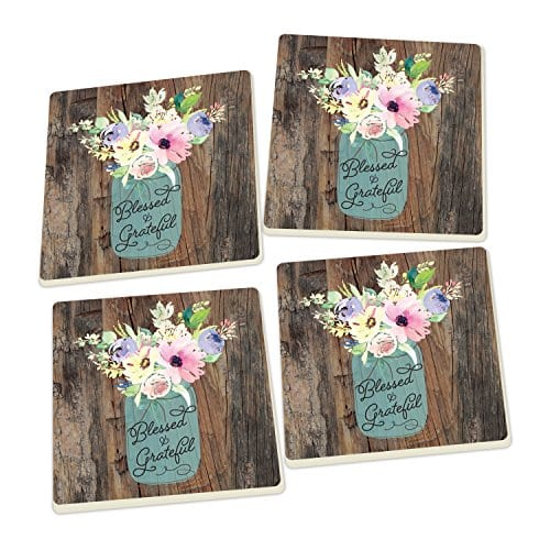 Blessed Grateful Floral Mason Jar Wood Look Set Of 4 Ceramic Coaster Pack 0