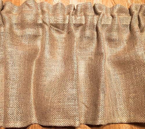 Burlap 52 Wide X 15 Long Tan WINDOW CURTAIN VALANCE KHAKI Solid Color Burlap FABRIC 0 1