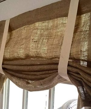 Burlap Window Curtain Valance With Straps 0 300x360