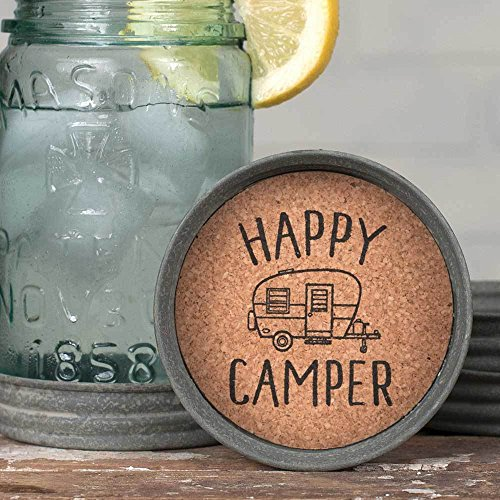 CTW 370165T Happy Camper Mason Jar Lid Coaster For Drinks Summer Kitchen Living Office Bar Camping Lover Home Decor Rustic Farmhouse Style Metal With Absorbent Cork Inside Set Of 4 0