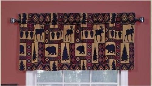 Cabin Pine Retreat Lodge Tapestry Window Valance Modern Rustic 54x16 NEW 0 1