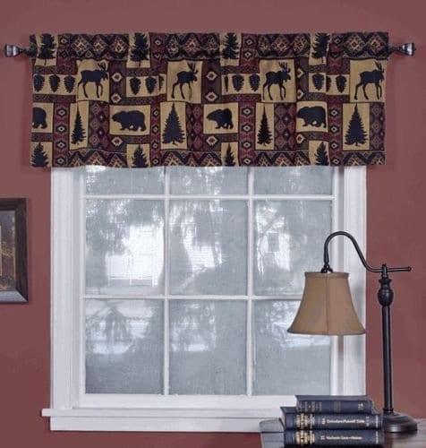 Cabin Pine Retreat Lodge Tapestry Window Valance Modern Rustic 54x16 NEW 0
