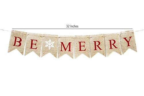 Christmas Banner Be Merry Holiday Burlap Banner B011 0 0