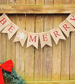 Christmas Banner Be Merry Holiday Burlap Banner B011 0 3 300x333