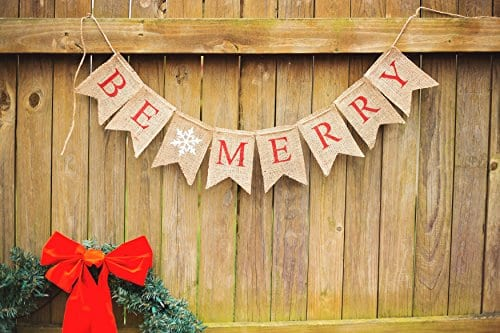 Christmas Banner Be Merry Holiday Burlap Banner B011 0 3