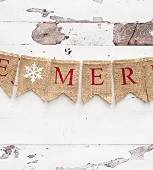 Christmas Banner Be Merry Holiday Burlap Banner B011 0 300x332