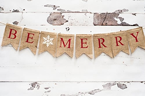 Christmas Banner Be Merry Holiday Burlap Banner B011 0